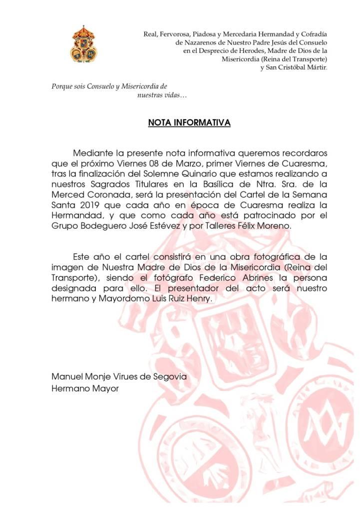 Nota Informativa - Cartel 2019